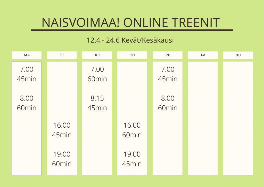 naisten online treeniryhmä aikataulu